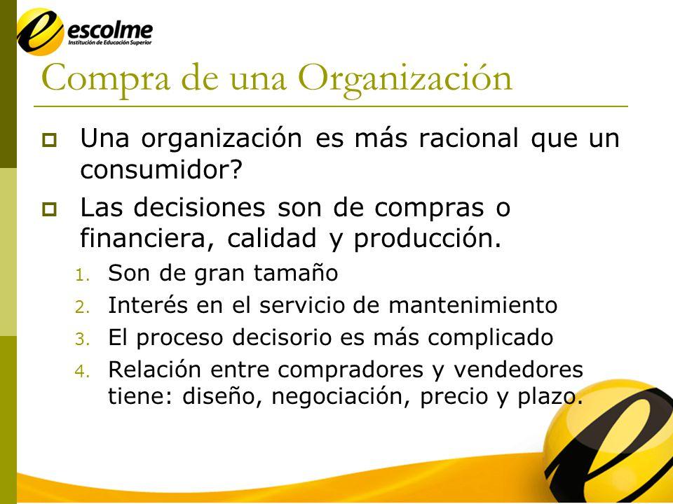 Compra de una Organización Una organización es más racional que un consumidor.