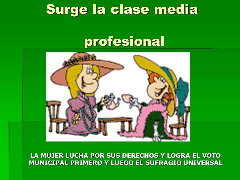 Surge la clase media profesional LA MUJER LUCHA POR SUS DERECHOS Y LOGRA EL VOTO MUNICIPAL PRIMERO Y LUEGO EL SUFRAGIO UNIVERSAL