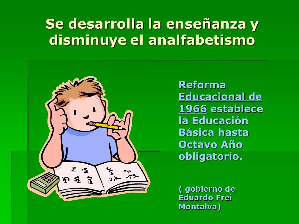Se desarrolla la enseñanza y disminuye el analfabetismo Reforma Educacional de 1966 establece la Educación Básica hasta Octavo Año obligatorio. ( gobi