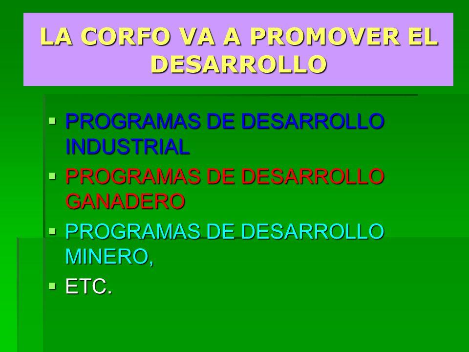 PROGRAMAS DE DESARROLLO INDUSTRIAL PROGRAMAS DE DESARROLLO INDUSTRIAL PROGRAMAS DE DESARROLLO GANADERO PROGRAMAS DE DESARROLLO GANADERO PROGRAMAS DE DESARROLLO MINERO, PROGRAMAS DE DESARROLLO MINERO, ETC.