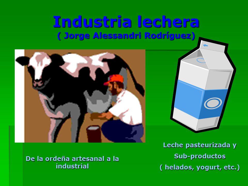 Industria lechera ( Jorge Alessandri Rodríguez) De la ordeña artesanal a la industrial Leche pasteurizada y Sub-productos ( helados, yogurt, etc.)