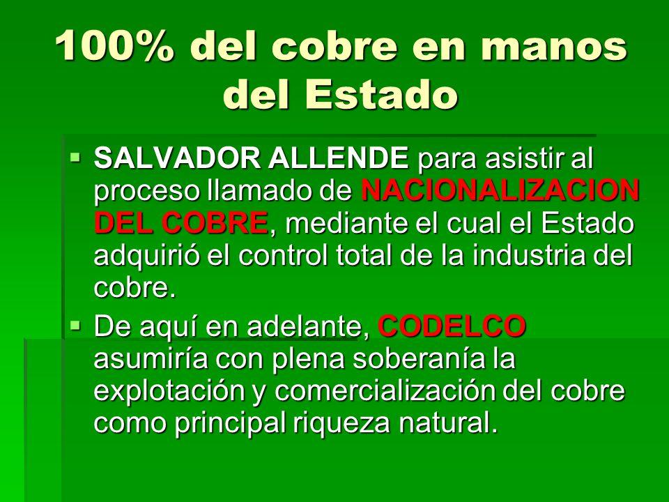 100% del cobre en manos del Estado SALVADOR ALLENDE para asistir al proceso llamado de NACIONALIZACION DEL COBRE, mediante el cual el Estado adquirió el control total de la industria del cobre.