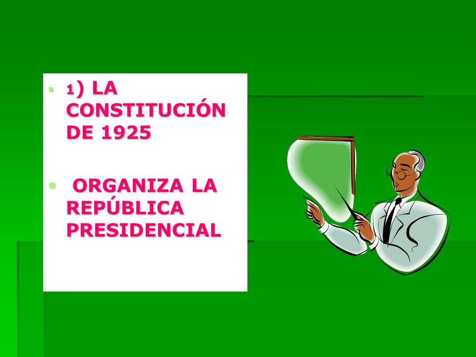 1 ) LA CONSTITUCIÓN DE 1925 1 ) LA CONSTITUCIÓN DE 1925 ORGANIZA LA REPÚBLICA PRESIDENCIAL ORGANIZA LA REPÚBLICA PRESIDENCIAL