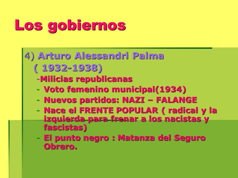 Los gobiernos 4) Arturo Alessandri Palma ( 1932-1938) -Milicias republicanas -Voto femenino municipal(1934) -Nuevos partidos: NAZI – FALANGE -Nace el FRENTE POPULAR ( radical y la izquierda para frenar a los nacistas y fascistas) -El punto negro : Matanza del Seguro Obrero.