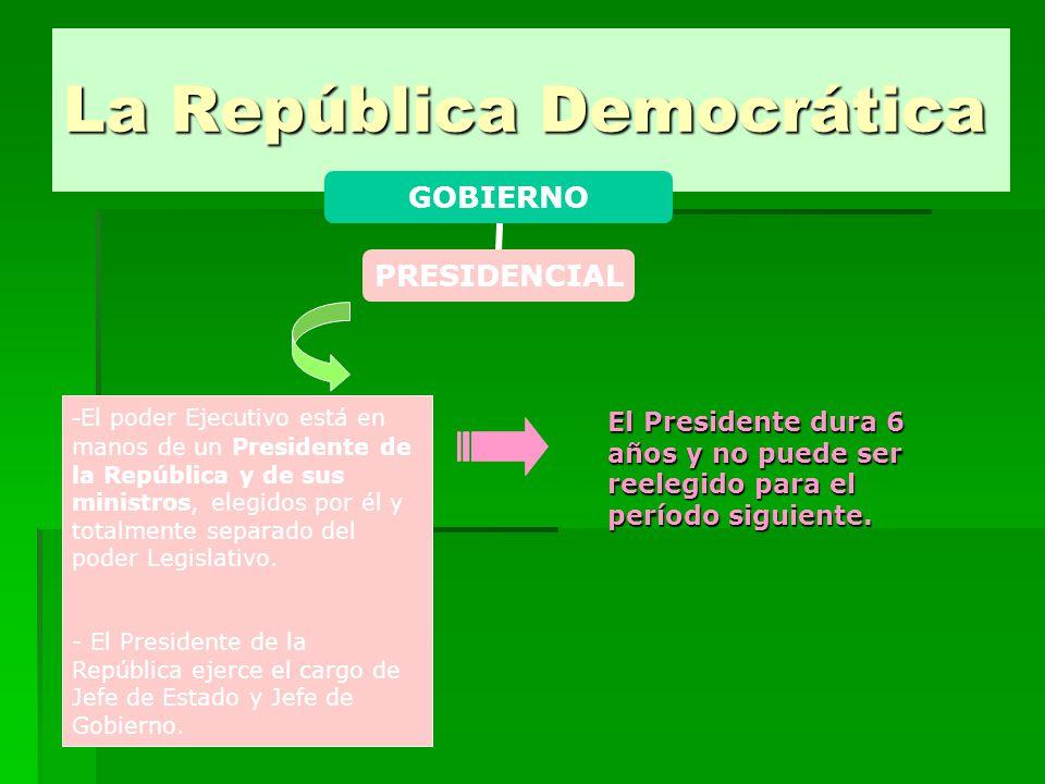 La República Democrática GOBIERNO PRESIDENCIAL - El poder Ejecutivo está en manos de un Presidente de la República y de sus ministros, elegidos por él y totalmente separado del poder Legislativo.