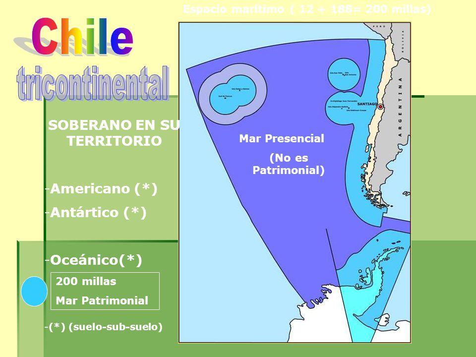 SOBERANO EN SU TERRITORIO -Americano (*) -Antártico (*) -Oceánico(*) -(*) (suelo-sub-suelo) Mar Presencial (No es Patrimonial) Espacio marítimo ( 12 + 188= 200 millas) 200 millas Mar Patrimonial