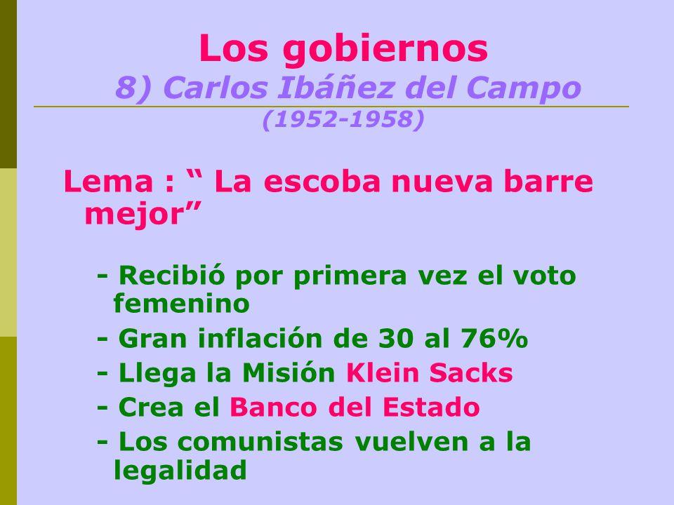 Los gobiernos 8) Carlos Ibáñez del Campo (1952-1958) Lema : La escoba nueva barre mejor - Recibió por primera vez el voto femenino - Gran inflación de 30 al 76% - Llega la Misión Klein Sacks - Crea el Banco del Estado - Los comunistas vuelven a la legalidad