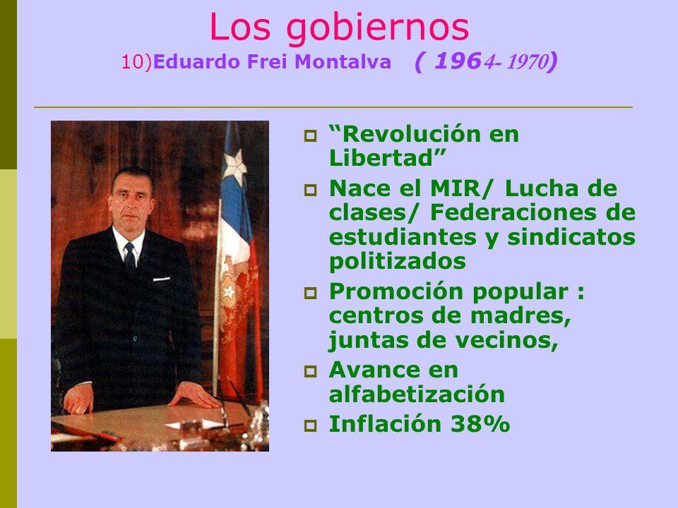 Los gobiernos 10)Eduardo Frei Montalva ( 196 4- 1970 ) Revolución en Libertad Nace el MIR/ Lucha de clases/ Federaciones de estudiantes y sindicatos p