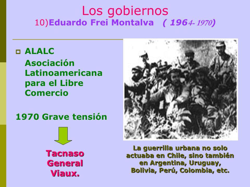Los gobiernos 10)Eduardo Frei Montalva ( 196 4- 1970 ) ALALC Asociación Latinoamericana para el Libre Comercio 1970 Grave tensión La guerrilla urbana no solo actuaba en Chile, sino también en Argentina, Uruguay, Bolivia, Perú, Colombia, etc.
