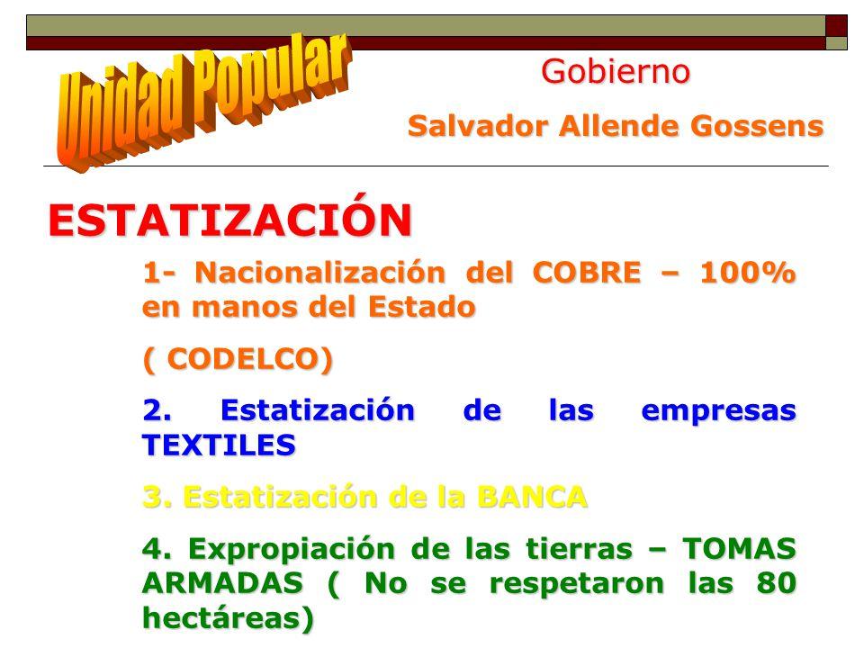 Gobierno Salvador Allende Gossens ESTATIZACIÓN 1- Nacionalización del COBRE – 100% en manos del Estado ( CODELCO) 2. Estatización de las empresas TEXT