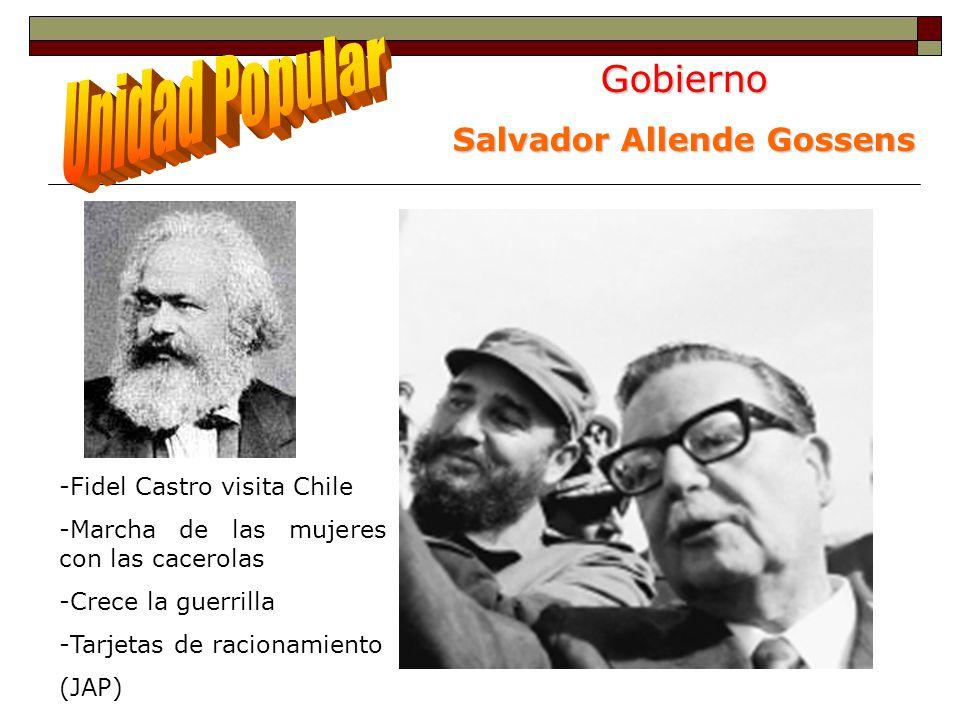 Gobierno Salvador Allende Gossens -Fidel Castro visita Chile -Marcha de las mujeres con las cacerolas -Crece la guerrilla -Tarjetas de racionamiento (JAP)