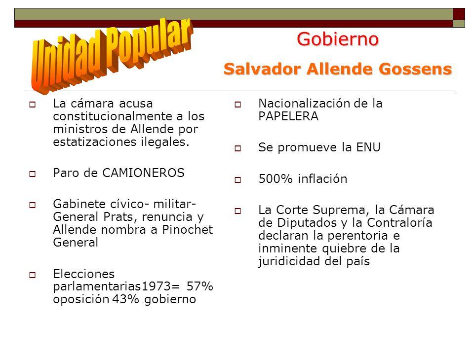 Gobierno Salvador Allende Gossens La cámara acusa constitucionalmente a los ministros de Allende por estatizaciones ilegales.