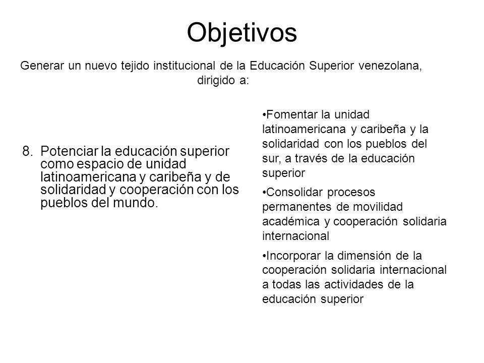 Objetivos 8.Potenciar la educación superior como espacio de unidad latinoamericana y caribeña y de solidaridad y cooperación con los pueblos del mundo