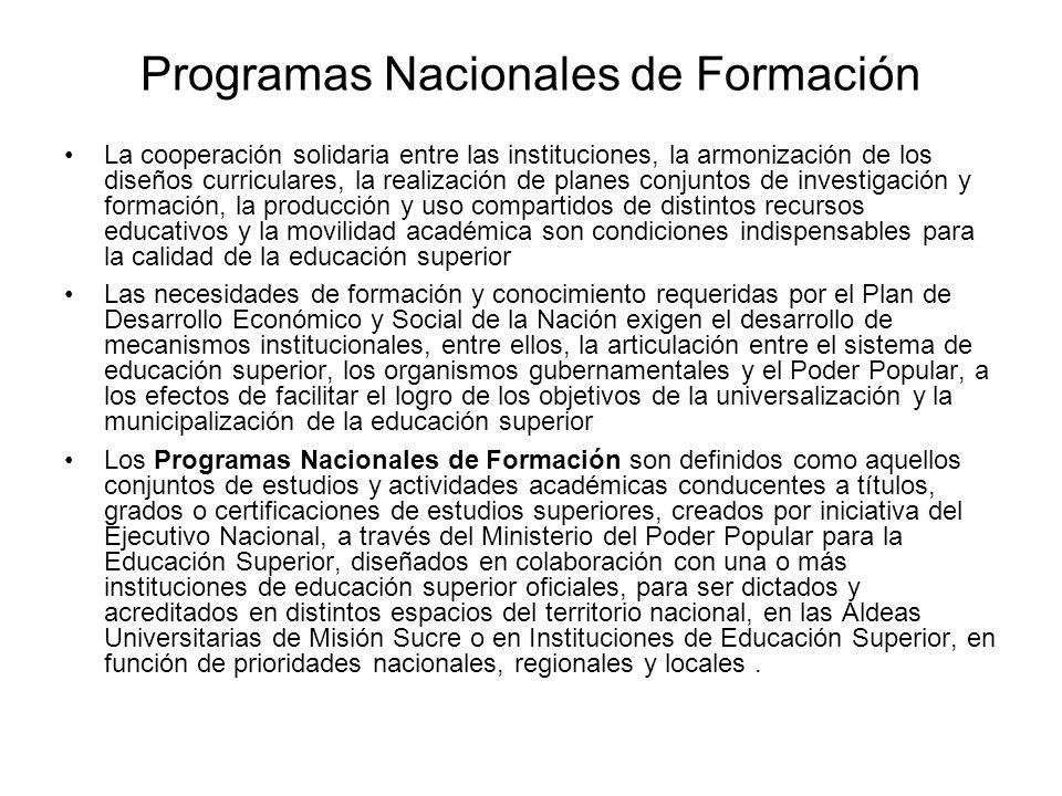 Programas Nacionales de Formación La cooperación solidaria entre las instituciones, la armonización de los diseños curriculares, la realización de pla