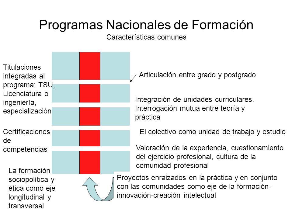 Programas Nacionales de Formación Características comunes Articulación entre grado y postgrado Proyectos enraizados en la práctica y en conjunto con l