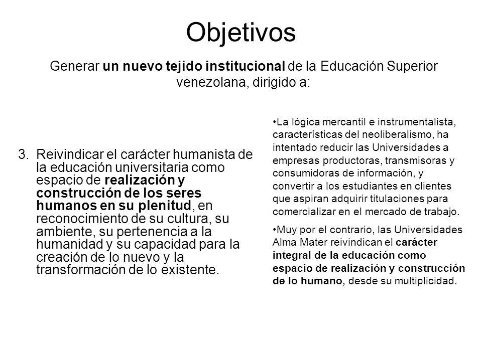 Objetivos 3.Reivindicar el carácter humanista de la educación universitaria como espacio de realización y construcción de los seres humanos en su plen