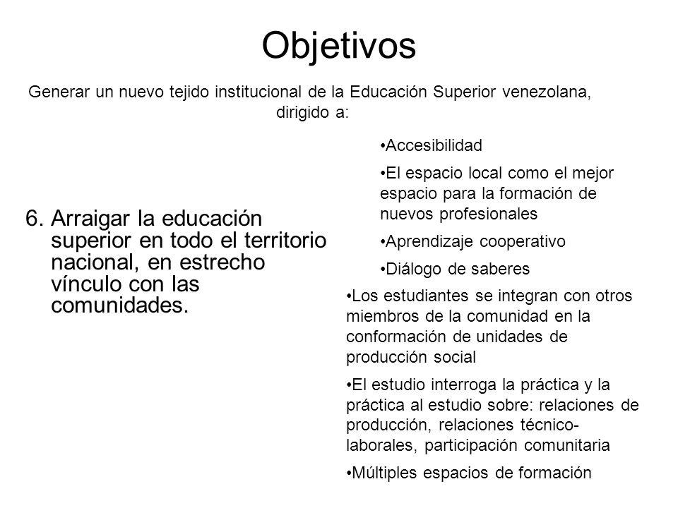 Objetivos 6.Arraigar la educación superior en todo el territorio nacional, en estrecho vínculo con las comunidades. Generar un nuevo tejido institucio