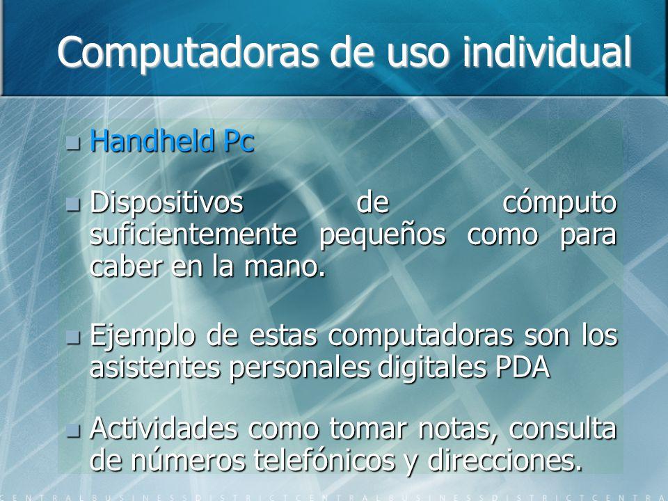 Computadoras de uso individual Handheld Pc Handheld Pc Dispositivos de cómputo suficientemente pequeños como para caber en la mano.