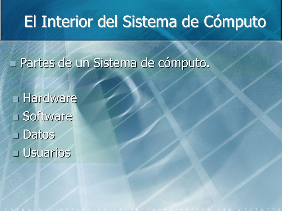 El Interior del Sistema de Cómputo Partes de un Sistema de cómputo. Partes de un Sistema de cómputo. Hardware Hardware Software Software Datos Datos U