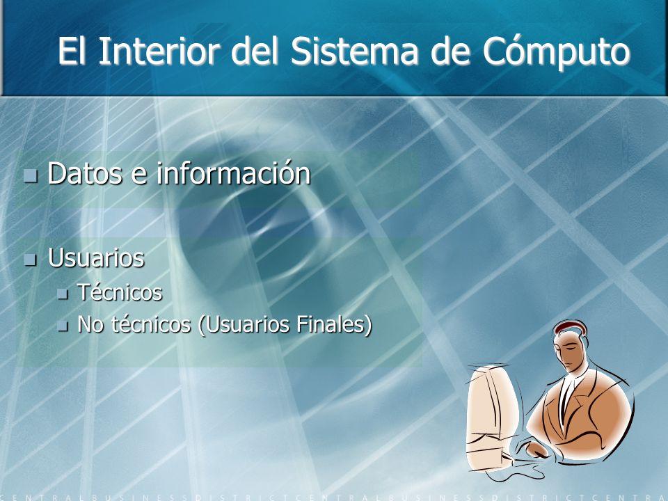 El Interior del Sistema de Cómputo Datos e información Datos e información Usuarios Usuarios Técnicos Técnicos No técnicos (Usuarios Finales) No técnicos (Usuarios Finales)