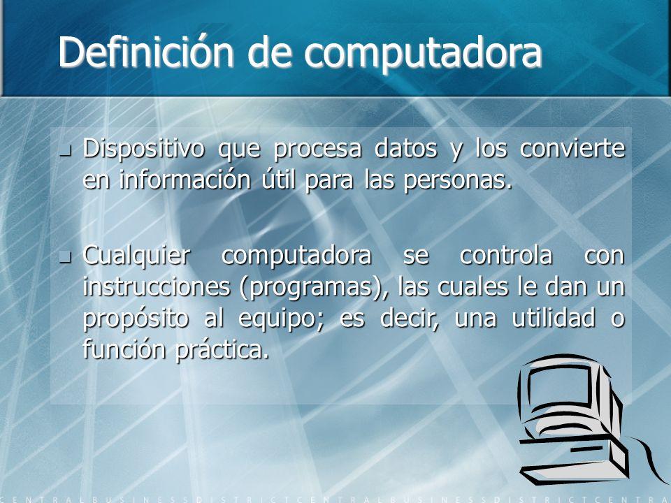 Definición de computadora Dispositivo que procesa datos y los convierte en información útil para las personas. Dispositivo que procesa datos y los con