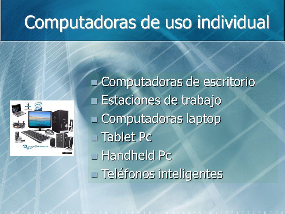 Computadoras de uso individual Computadoras de escritorio Computadoras de escritorio Estaciones de trabajo Estaciones de trabajo Computadoras laptop C