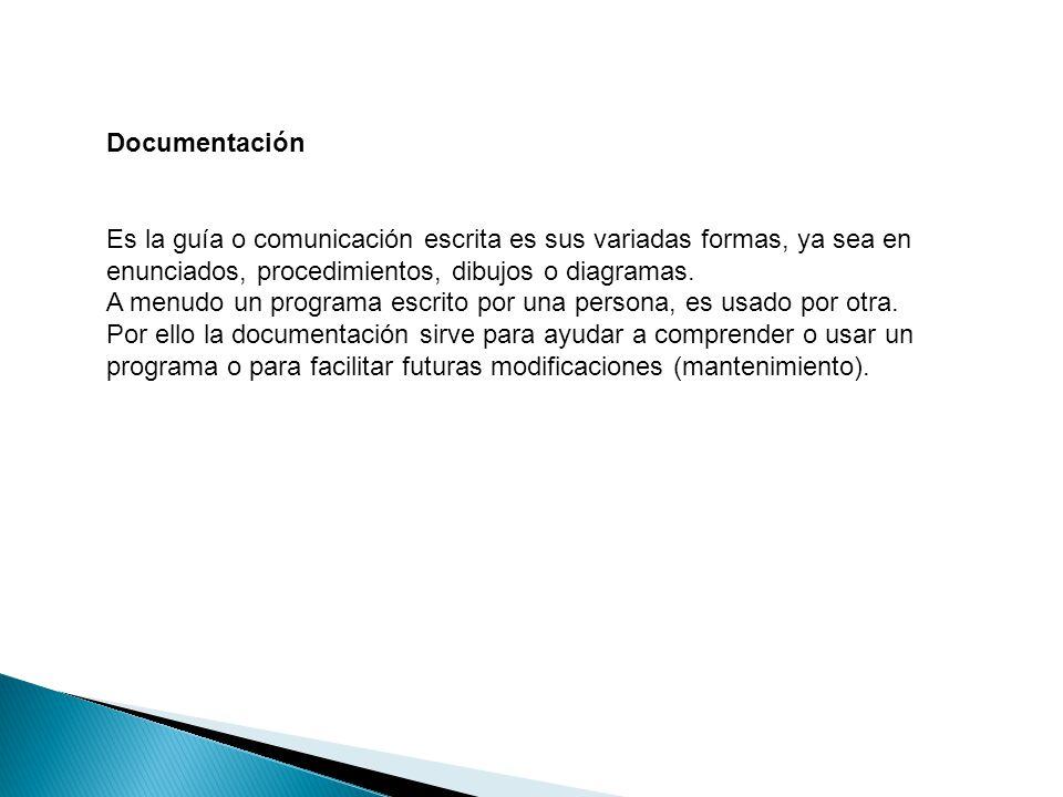 Documentación Es la guía o comunicación escrita es sus variadas formas, ya sea en enunciados, procedimientos, dibujos o diagramas. A menudo un program