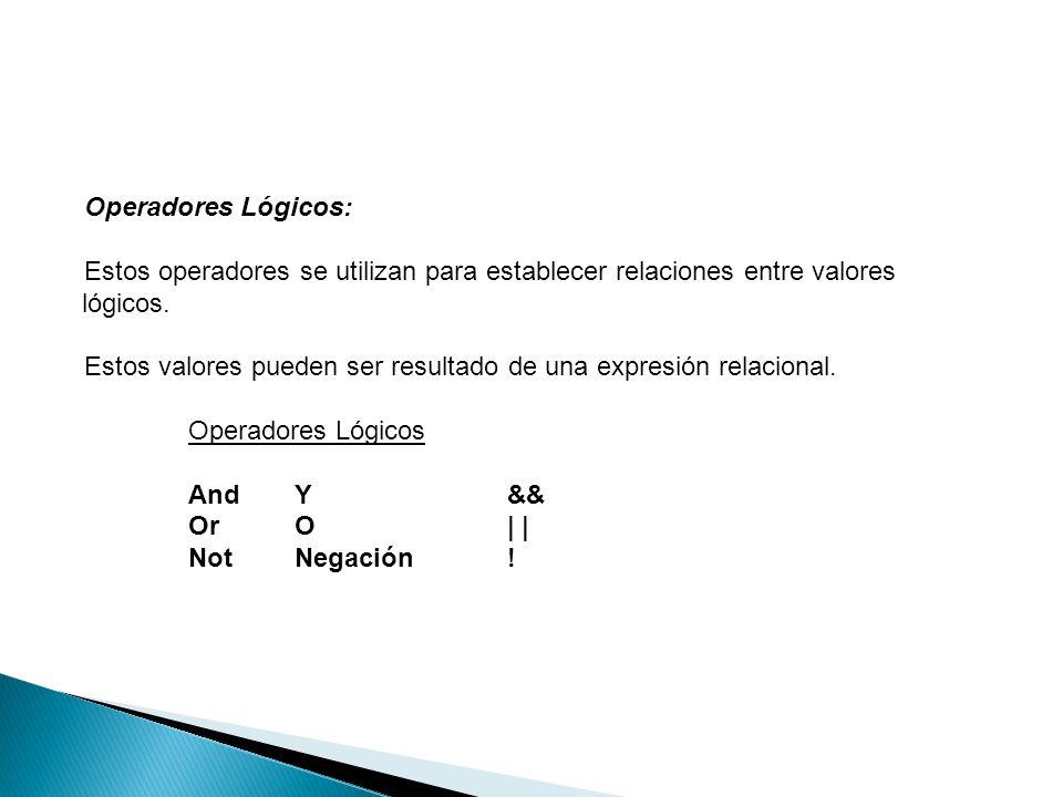 Operadores Lógicos: Estos operadores se utilizan para establecer relaciones entre valores lógicos. Estos valores pueden ser resultado de una expresión