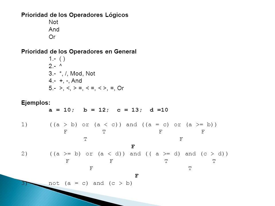 Prioridad de los Operadores Lógicos Not And Or Prioridad de los Operadores en General 1.- ( ) 2.- ^ 3.- *, /, Mod, Not 4.- +, -, And 5.- >, =,, =, Or