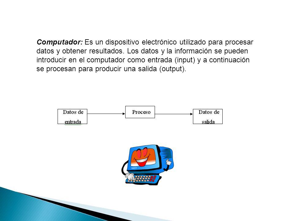 Computador: Es un dispositivo electrónico utilizado para procesar datos y obtener resultados. Los datos y la información se pueden introducir en el co