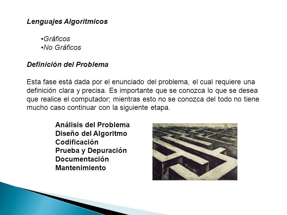Lenguajes Algoritmicos Gráficos No Gráficos Definición del Problema Esta fase está dada por el enunciado del problema, el cual requiere una definición