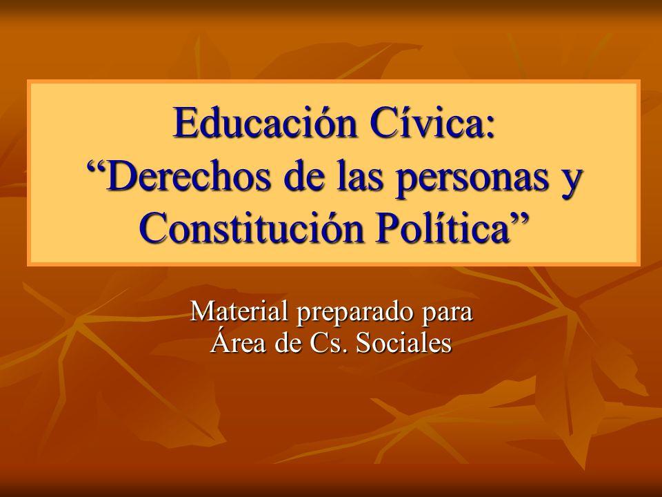 Educación Cívica: Derechos de las personas y Constitución Política Material preparado para Área de Cs. Sociales