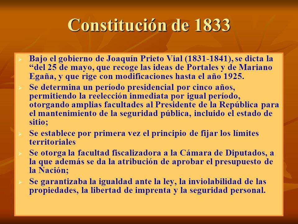 Constitución de 1833 Bajo el gobierno de Joaquín Prieto Vial (1831-1841), se dicta la del 25 de mayo, que recoge las ideas de Portales y de Mariano Eg