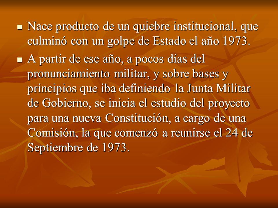 Nace producto de un quiebre institucional, que culminó con un golpe de Estado el año 1973. Nace producto de un quiebre institucional, que culminó con