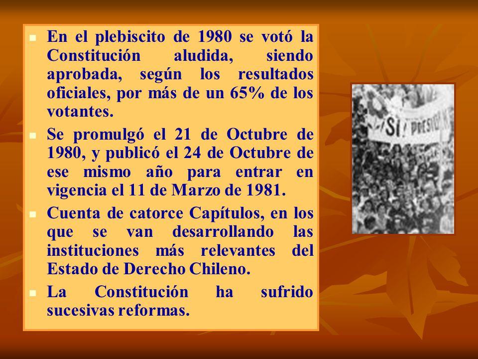 En el plebiscito de 1980 se votó la Constitución aludida, siendo aprobada, según los resultados oficiales, por más de un 65% de los votantes. Se promu