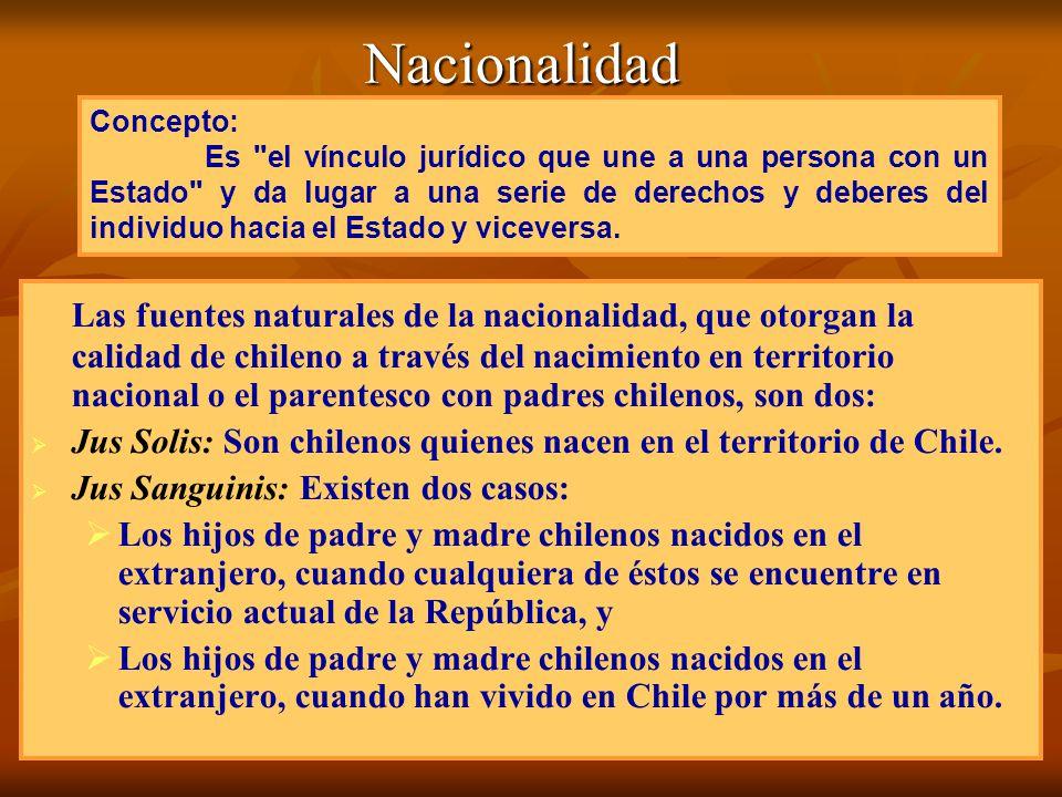 Nacionalidad Las fuentes naturales de la nacionalidad, que otorgan la calidad de chileno a través del nacimiento en territorio nacional o el parentesc