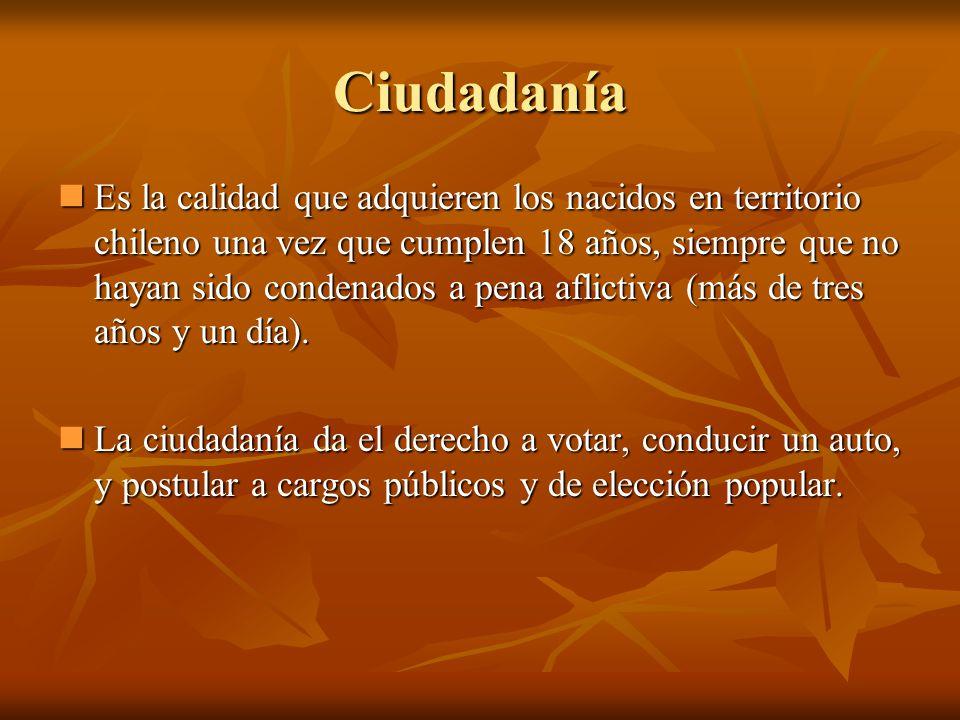 Ciudadanía Es la calidad que adquieren los nacidos en territorio chileno una vez que cumplen 18 años, siempre que no hayan sido condenados a pena afli