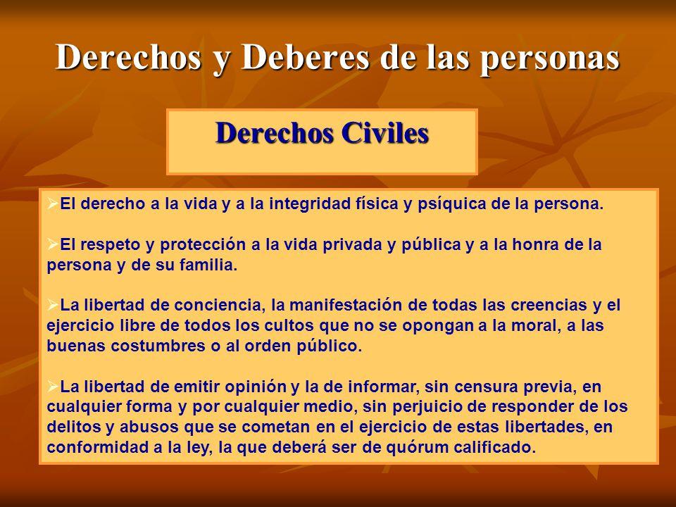 Derechos y Deberes de las personas Derechos Civiles El derecho a la vida y a la integridad física y psíquica de la persona. El respeto y protección a
