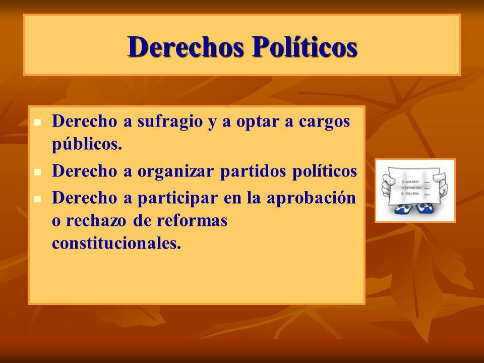 Derechos Políticos Derecho a sufragio y a optar a cargos públicos. Derecho a organizar partidos políticos Derecho a participar en la aprobación o rech