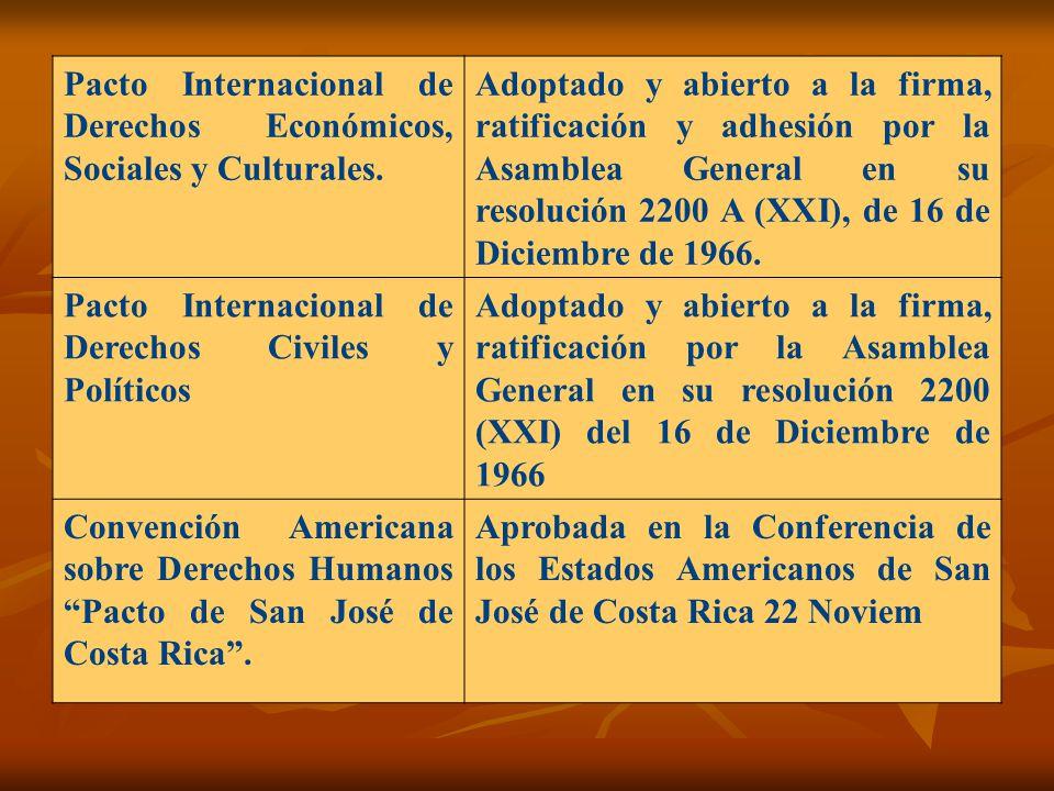 Pacto Internacional de Derechos Económicos, Sociales y Culturales. Adoptado y abierto a la firma, ratificación y adhesión por la Asamblea General en s
