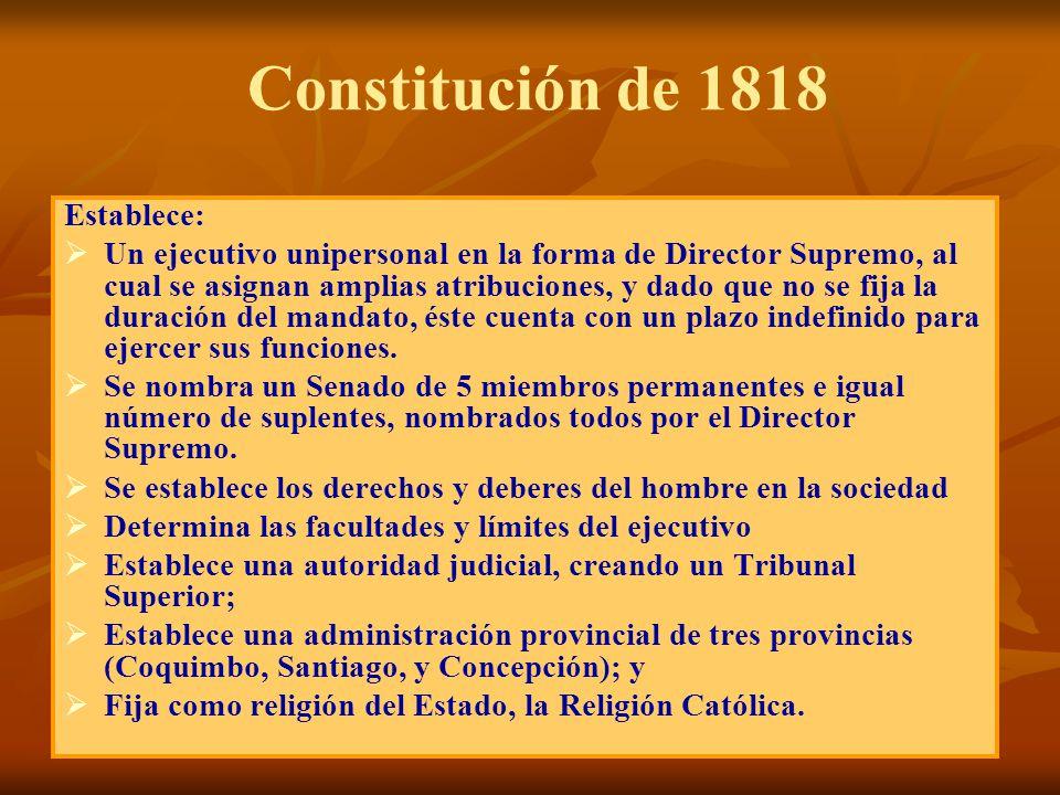 Constitución de 1818 Establece: Un ejecutivo unipersonal en la forma de Director Supremo, al cual se asignan amplias atribuciones, y dado que no se fi
