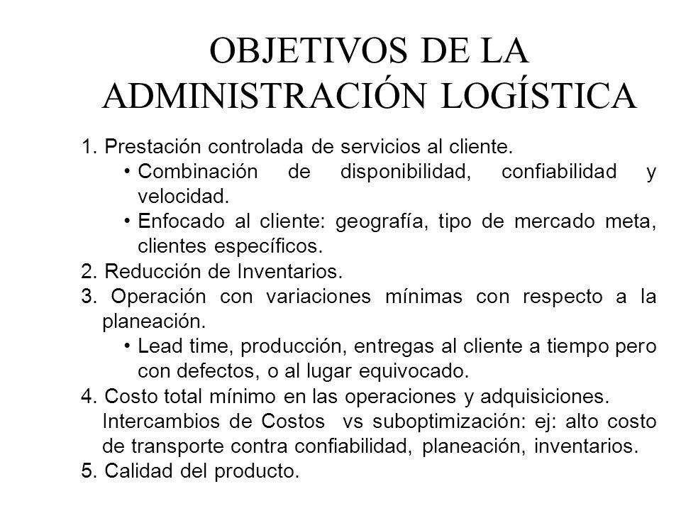 OBJETIVOS DE LA ADMINISTRACIÓN LOGÍSTICA 1. Prestación controlada de servicios al cliente. Combinación de disponibilidad, confiabilidad y velocidad. E