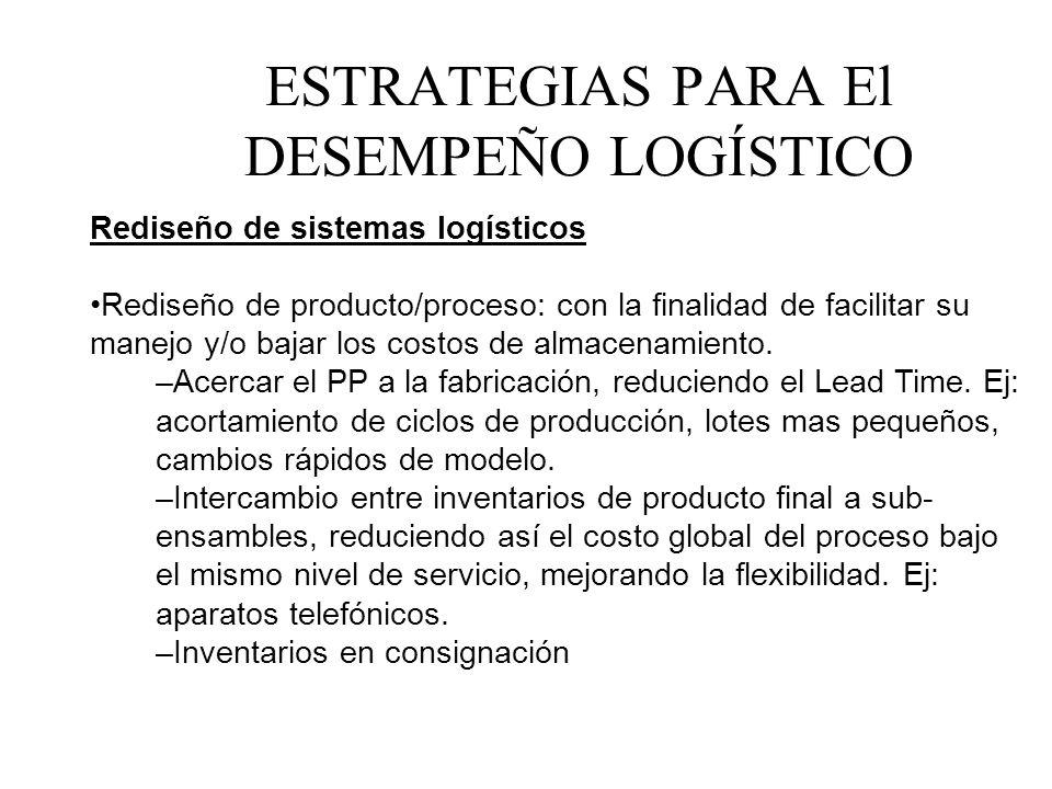 Rediseño de sistemas logísticos Rediseño de producto/proceso: con la finalidad de facilitar su manejo y/o bajar los costos de almacenamiento. –Acercar