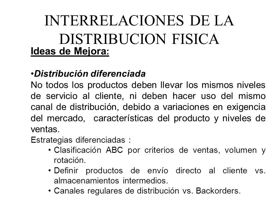 Ideas de Mejora : Distribución diferenciada No todos los productos deben llevar los mismos niveles de servicio al cliente, ni deben hacer uso del mism