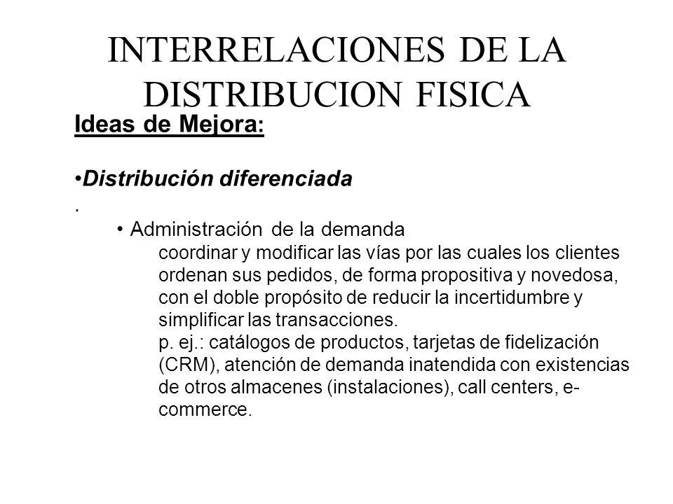 Ideas de Mejora : Distribución diferenciada. Administración de la demanda coordinar y modificar las vías por las cuales los clientes ordenan sus pedid