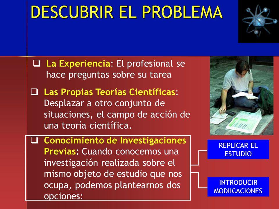 DESCUBRIR EL PROBLEMA La Experiencia: El profesional se hace preguntas sobre su tarea Las Propias Teorías Científicas: Desplazar a otro conjunto de si