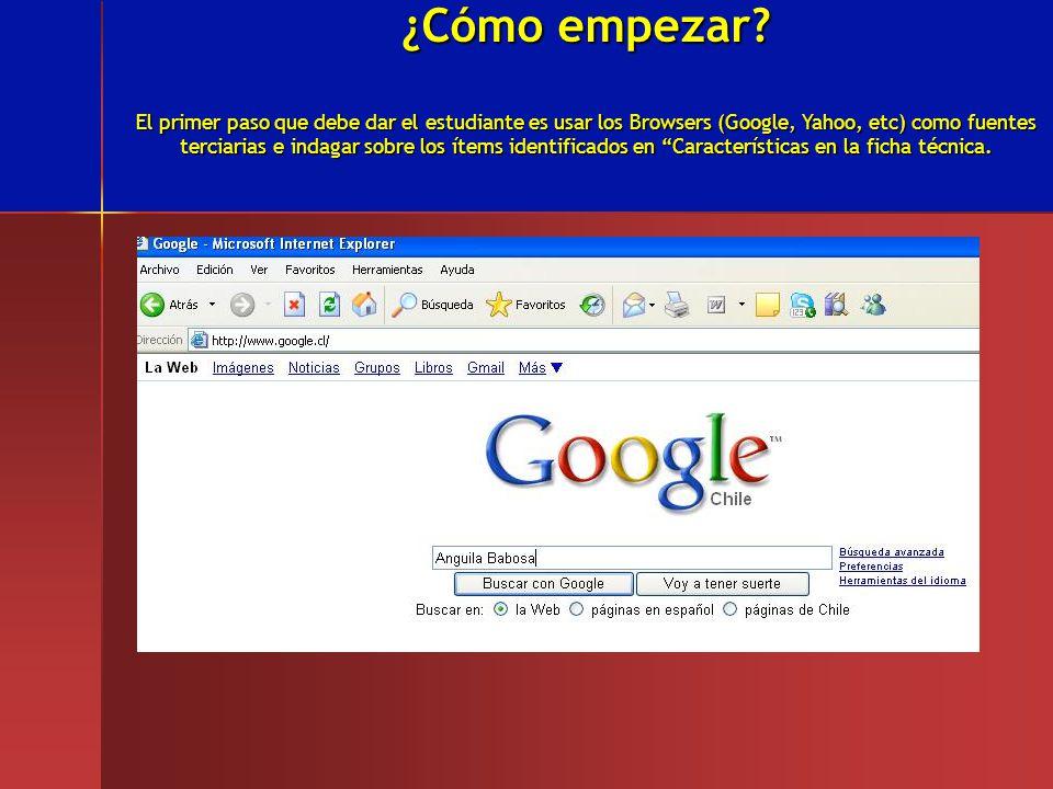 ¿Cómo empezar? El primer paso que debe dar el estudiante es usar los Browsers (Google, Yahoo, etc) como fuentes terciarias e indagar sobre los ítems i