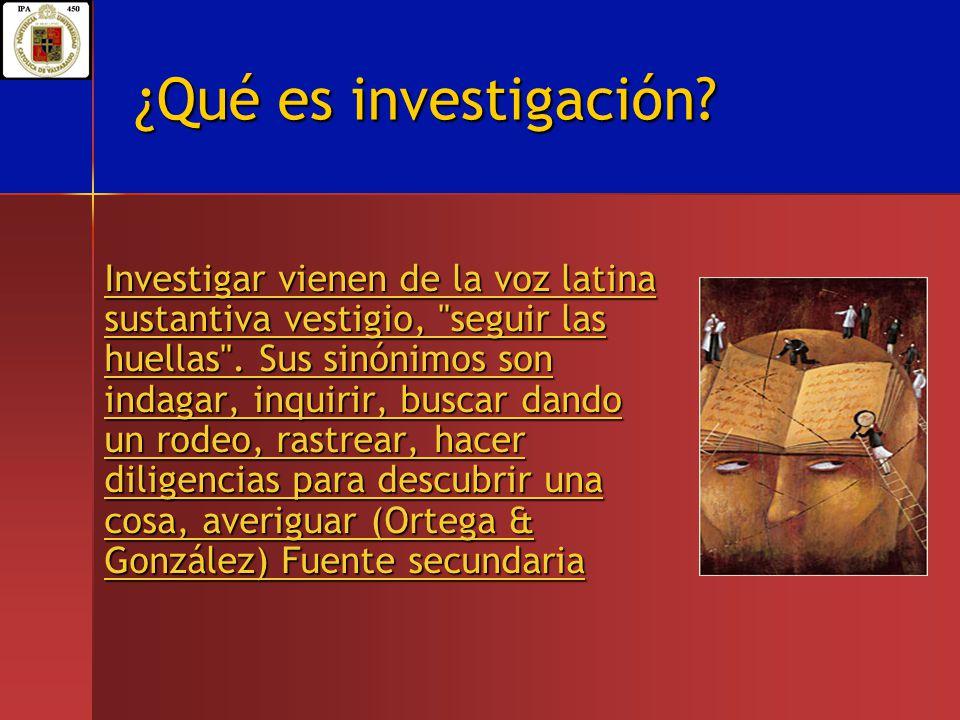 ¿Qué es investigación? Investigar vienen de la voz latina sustantiva vestigio,