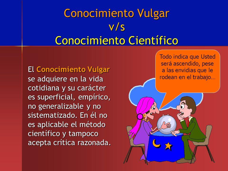Conocimiento Vulgar v/s Conocimiento Científico El Conocimiento Vulgar se adquiere en la vida cotidiana y su carácter es superficial, empírico, no gen