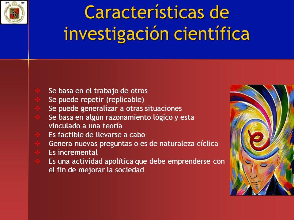Características de investigación científica Se basa en el trabajo de otros Se puede repetir (replicable) Se puede generalizar a otras situaciones Se b